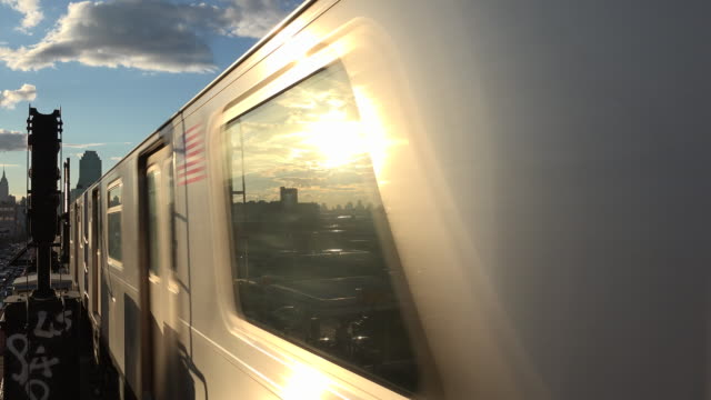 New York Subway Train at Sunset