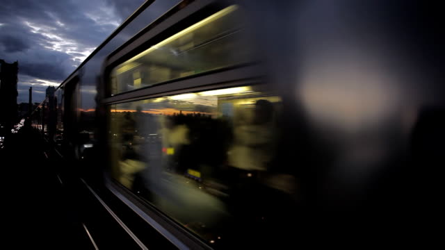 New York Subway Train Leaving manhattan at Sunset