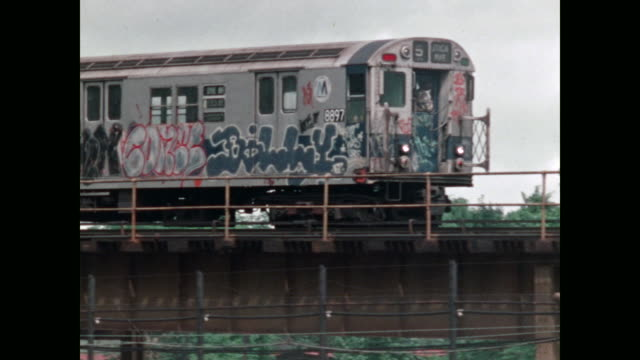 new york subways in the 1970s - graffiti stock videos & royalty-free footage