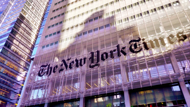 new york times building. famous american newspaper. a corporate building, financial office. manhattan, new york, us - financial bill stock videos & royalty-free footage