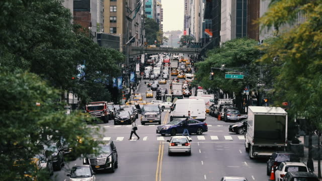 new york traffic in downtown manhattan - chelsea new york stock videos & royalty-free footage