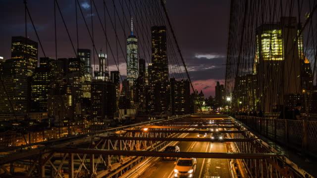 new york, traffic on brooklyn bridge - brooklyn new york stock videos & royalty-free footage