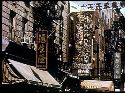 1956 new york travelogue - 4 of 12 - chinatown stock videos & royalty-free footage