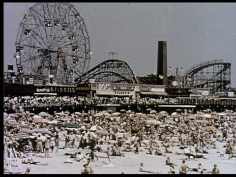 1956 new york travelogue - 9 of 12 - coney island stock-videos und b-roll-filmmaterial