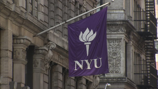 ms, new york university sign on campus building, manhattan, new york city, new york, usa - new york university stock videos & royalty-free footage