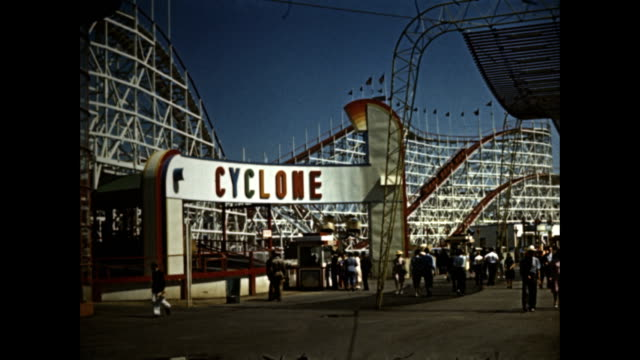 new york world's fair amusement zone attractions meteor speedway laff in the park the cyclone roller coaster shoot the works a skeet shooting gallery... - skeet shooting stock videos & royalty-free footage