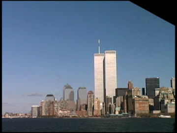 stockvideo's en b-roll-footage met new york: wtc site; twin towers and remaining buildings - world trade center manhattan