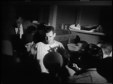 vidéos et rushes de new york yankee don larsen being interviewed in locker room after pitching a 'perfect game' in game 5 of the world series - 1956