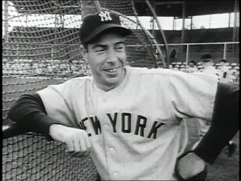 new york yankee joe dimaggio standing at fence in ballpark / phoenix, arizona, united states - 1951 stock videos & royalty-free footage