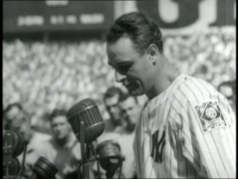 new york yankee lou gehrig delivers his retirement speech - lou gehrig stock videos & royalty-free footage