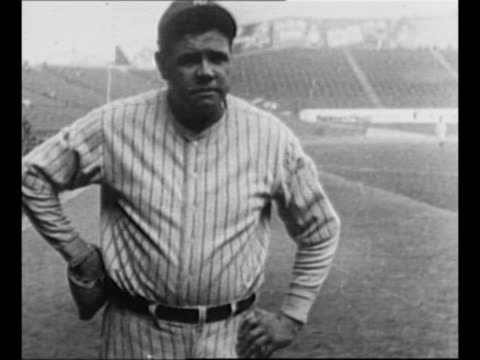 vídeos de stock e filmes b-roll de new york yankees player babe ruth hits ball, runs to first base / ruth in yankees uniform / shirtless boxer jack dempsey smiles, winks / golfer bobby... - raqueta