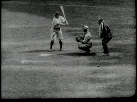 new york yankees player lou gehrig hits a home run during a baseball game - lou gehrig stock videos & royalty-free footage