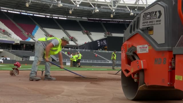 new york yankees v boston red sox olympic stadium preview; england: london: stratford: olympic stadium: ext wide shot from stands of work in progress... - ニューヨーク・ヤンキース点の映像素材/bロール