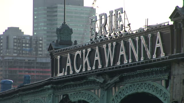 new yorkclose view of erie lackawanna sign in new york united states - lago erie video stock e b–roll