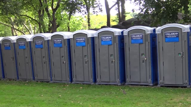 New York's Central Park will be partially closed during Pope Francis' visit to Central Park / Temporary transportable bathrooms toilets installed in...