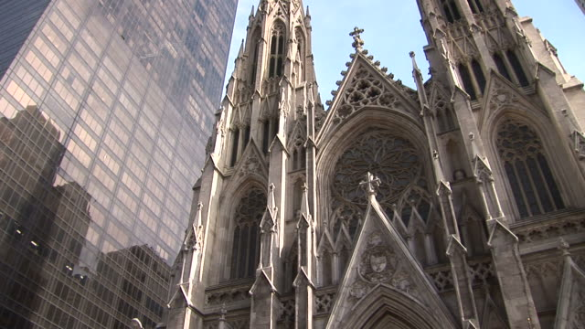 new yorkview of an old church in new york united states - st. patrick's cathedral manhattan stock videos and b-roll footage