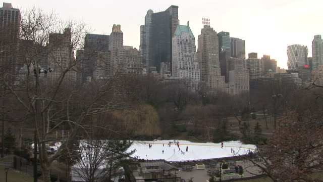 new yorkview of central park in new york united states - ice rink stock videos & royalty-free footage