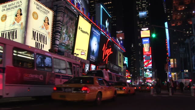 new yorkview of city street traffic and led display board in new york united states - mamma mia stock videos and b-roll footage