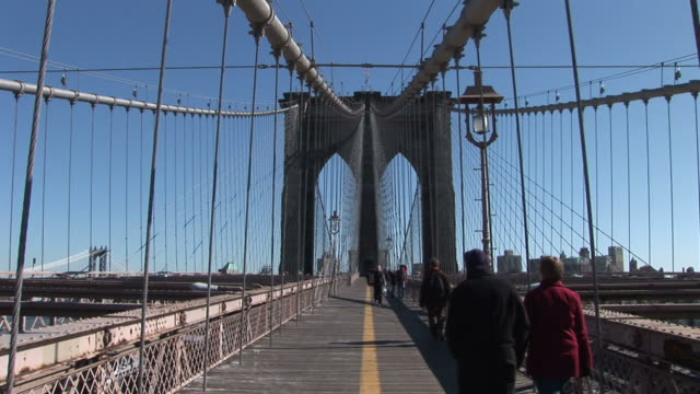 New YorkView of footpath in Brooklyn Bridge in New York United States