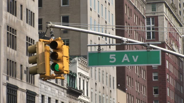 new yorkview of hanging traffic signal in new york united states - fifth avenue stock videos & royalty-free footage