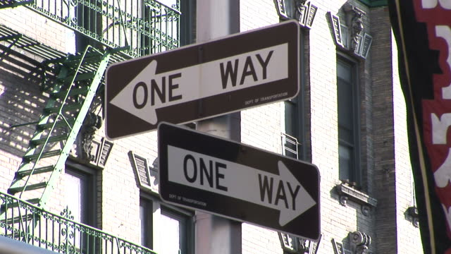 new yorkview of one way signboards in new york united states - one way stock videos & royalty-free footage