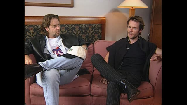 new zealand born australian based actor russell crowe and actor guy pearce speaking in 1997 about the reception of their mixed accents in the film... - russell crowe stock videos & royalty-free footage