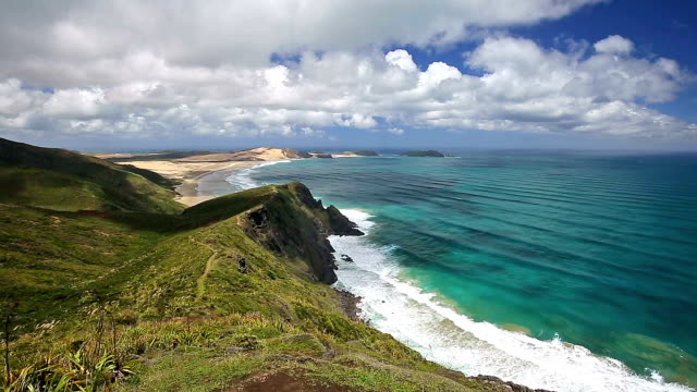 new zealand cape reinga panning - seascape stock videos & royalty-free footage