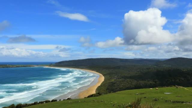 new zealand catlins tautuku bay with cloud - 丘点の映像素材/bロール