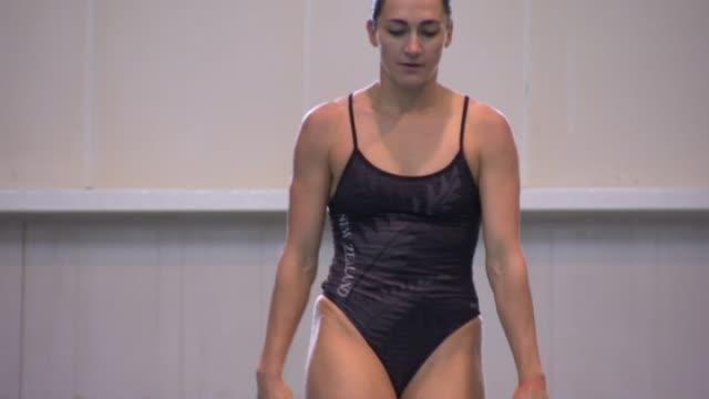 New Zealand Elite diver Shaye Boddington practising dives from diving board