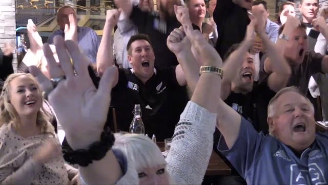 new zealand fans gathered to watch the rugby world cup semi final between new zealand and south africa live on tv at the d4 bar in the cbd wellington - fan enthusiast stock videos & royalty-free footage