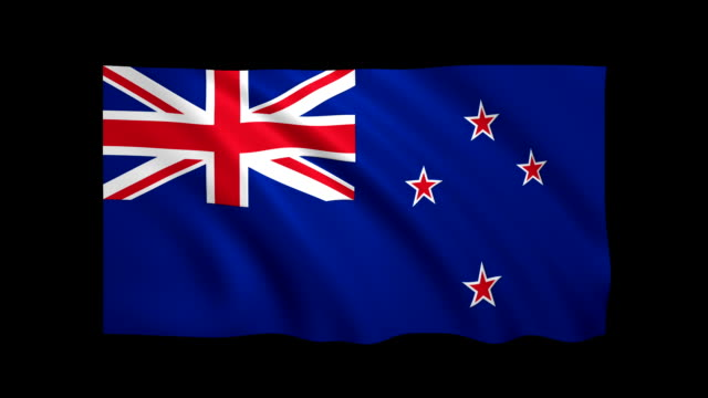 New Zealand Flag Loopable matte included - Stock video