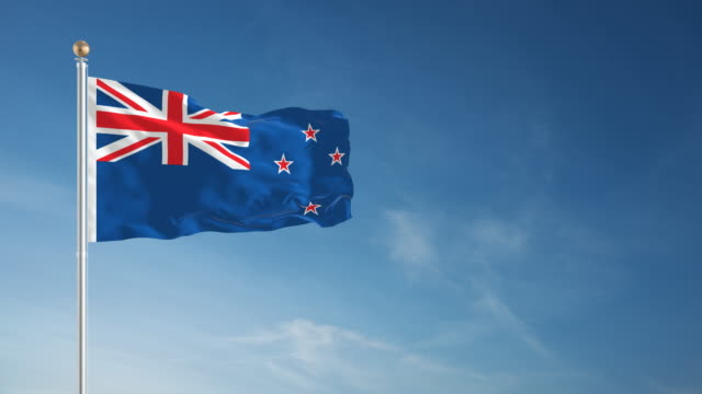 4k new zealand flag - loopable - pole stock videos & royalty-free footage