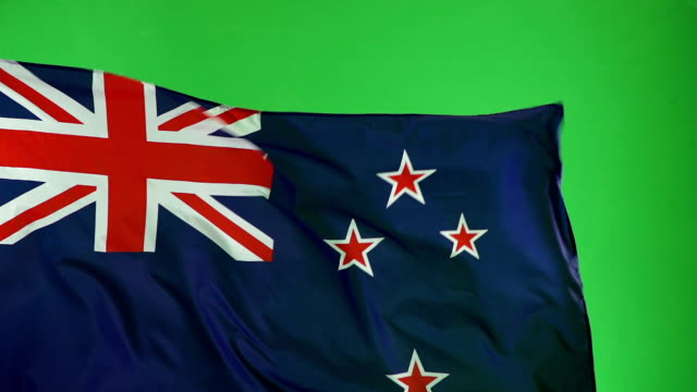 New Zealand Flag on green screen, Real video, not CGI - Super Slow Motion
