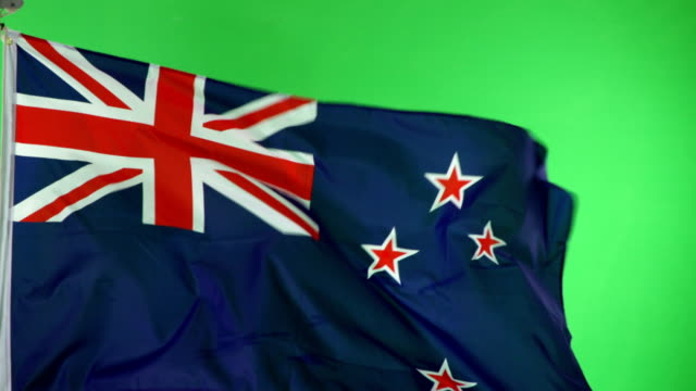 4K: New Zealand Flag on green screen, Real video, not CGI