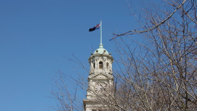 New Zealand Flag Unfurling Over Auckland Town Hall