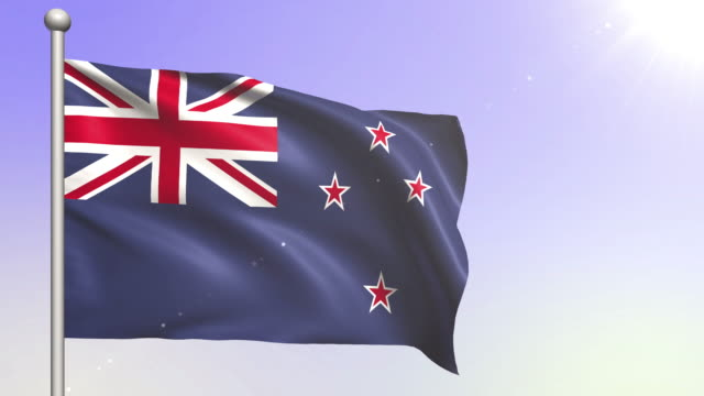 new zealand flag (loopable) - new zealand culture stock videos and b-roll footage