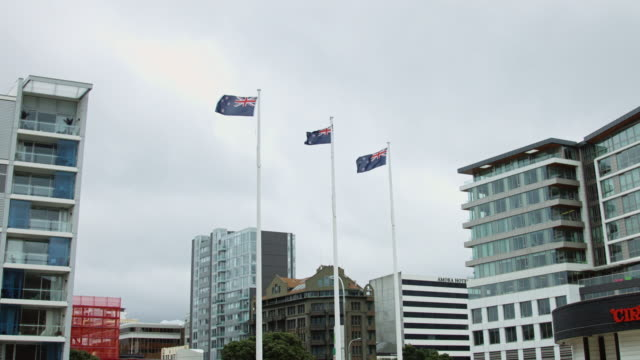 New Zealand Flags Flying Above Wellington