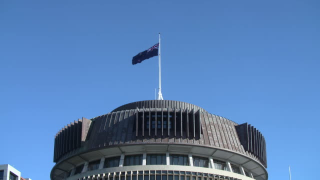 new zealand flags flying outside beehive building - parliament building stock videos & royalty-free footage