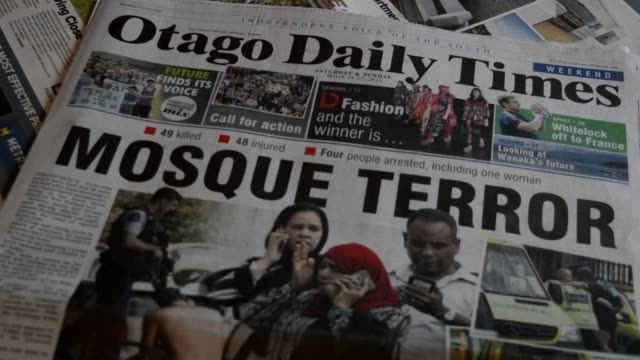 new zealand is in shock after a right wing extremist who filmed himself on a shooting rampage that left 49 mosque goers dead appeared in a court... - übersichtsreport stock-videos und b-roll-filmmaterial