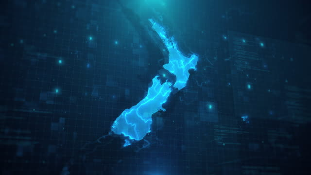 new zealand map against blue animated background 4k uhd - infographic stock videos & royalty-free footage