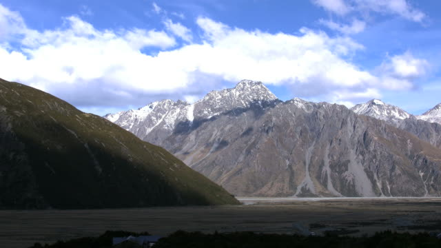 new zealand mount cook national park zoom in - new zealand southern alps stock videos & royalty-free footage