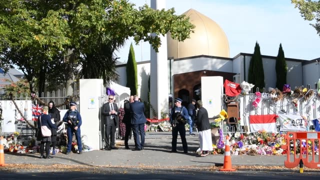new zealand prime minister jacinda ardern waits at al noor mosque for the arrival of prince william, duke of cambridge on april 26, 2019 in... - terrorism stock videos & royalty-free footage