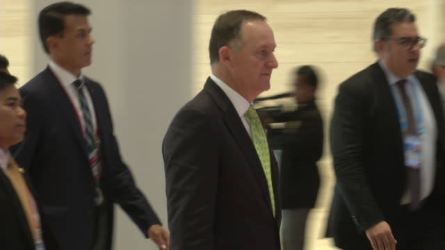 new zealand prime minister john key arrives at the association of southeast asian nations summit the laotian capital vientiane - association of southeast asian nations stock videos & royalty-free footage