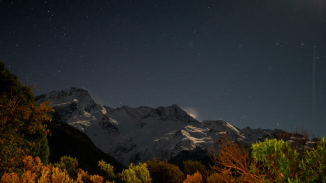 new zealand scenic mountain landscape with moonlight - aurora australis stock videos & royalty-free footage