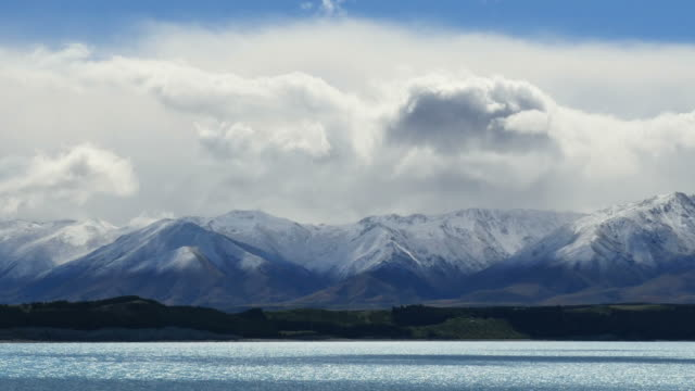 New Zealand view of Alps at Lake Pukaki pan
