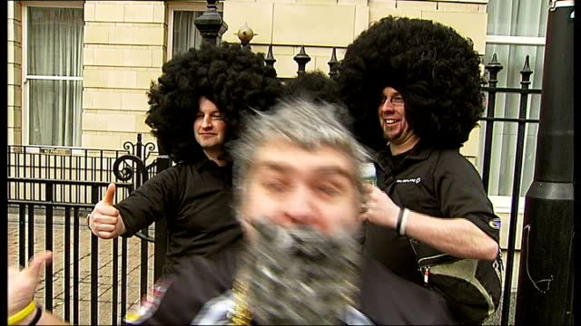New Zealanders celebrate Waitangi Day ENGLAND London EXT Various views of expat New Zealanders some dressed as sheep some dressed as All Black rugby...
