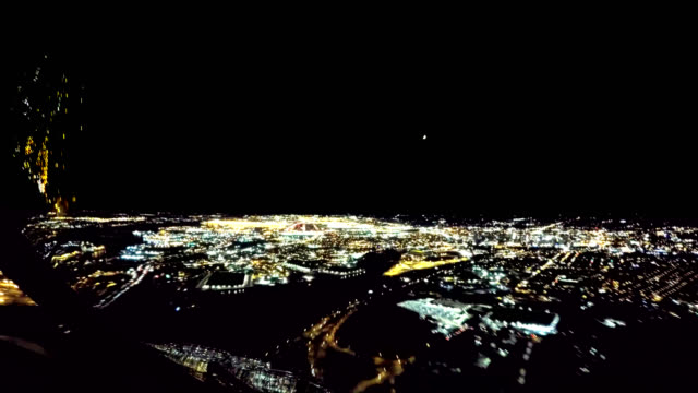 newark liberty intl. airport, approach and landing (pov shot nighttime) - piloting stock videos and b-roll footage