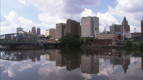 newark, new jersey as seen from the passaic river  - new jersey stock videos & royalty-free footage