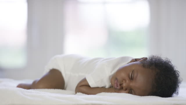 newborn baby boy napping - african american ethnicity stock videos & royalty-free footage