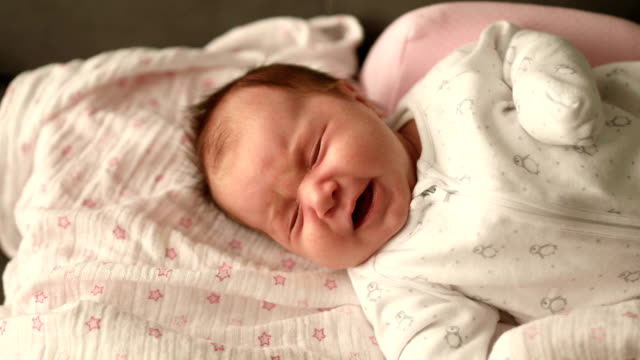 newborn baby crying - babies only stock videos & royalty-free footage